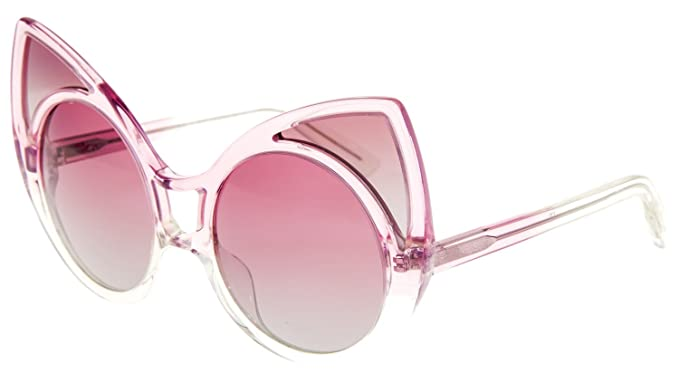 5fd725219b0b Image Unavailable. Image not available for. Color  Khaleda Rajab LINDA  FARROW Cat Eye Crystal Pink POLARIZED KR1 Sunglasses Mask