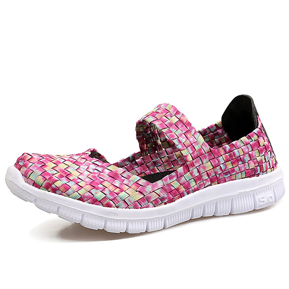 YKH YKH-SDF577taohong39 Womens Lightweight Woven Mary Jane Flats Summer Comfortable Slip On Walking Shoes Pink 8 US