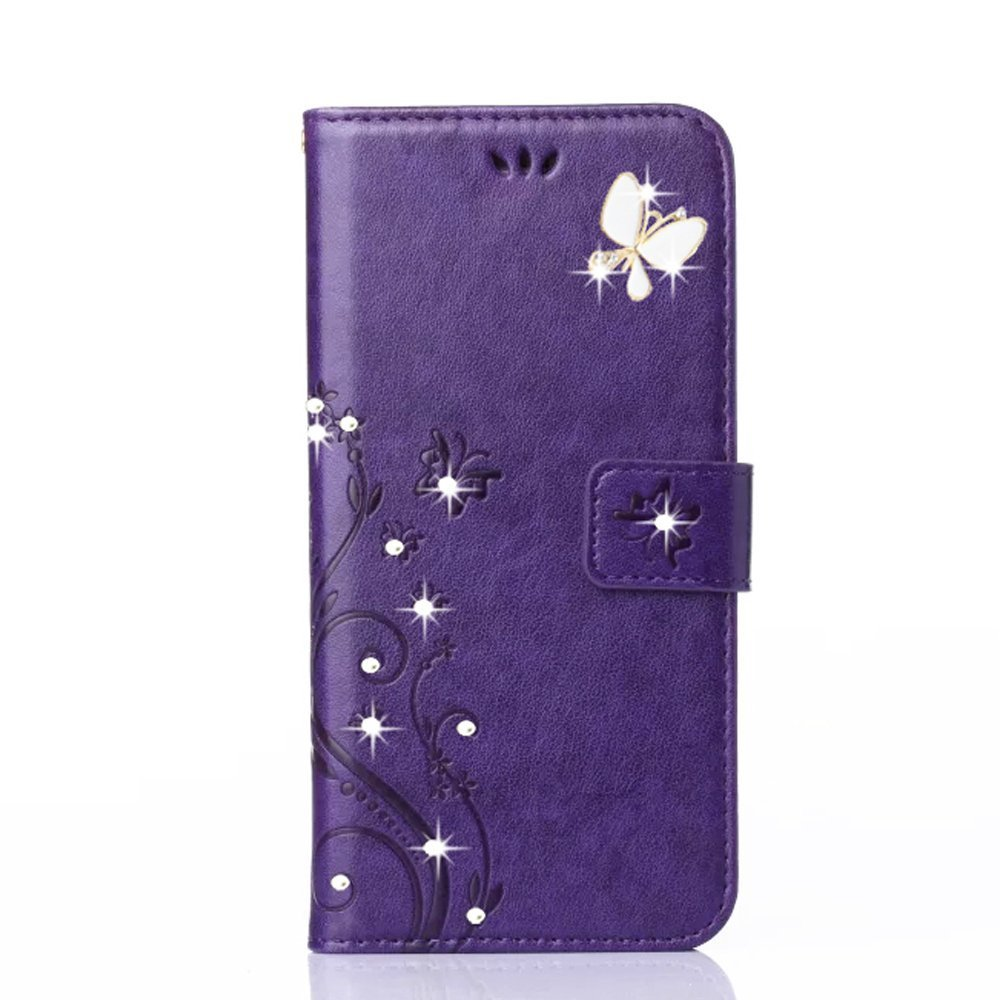 Auroralove Note 4 Luxury Handmade Bling Rhinestone Soft Slim Flip Stand Wallet Case for Samsung Note 4 Flower Butterfly PU Leather Case for Girls Women (Samsung galaxy Note 4, Purple) by Auroralove (Image #1)