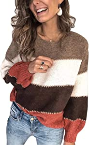 Women's Casual Striped Sweaters Color Block Long Sleeve Sweater Crewneck Patchwork Pullover Knit Jumper Tops