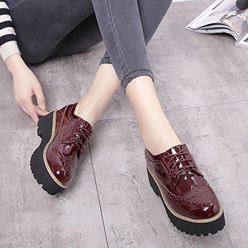 Giy Plataforma De Moda Mujer Low-top Punta Redonda Sneaker Cuña Fondo Grueso Con Cordones Casual Zapatos Brogue Rojo