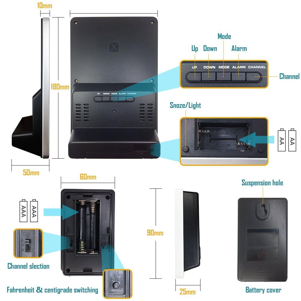 Protmex Reloj Despertador, Digital estación meteorológica inalámbrica con Alarma Reloj, repetición de Alarma, función de Interior/al Aire Libre de ...