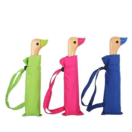 SANJO Paraguas plegable compacto con cabeza de pato de madera diseño de mango y funda de