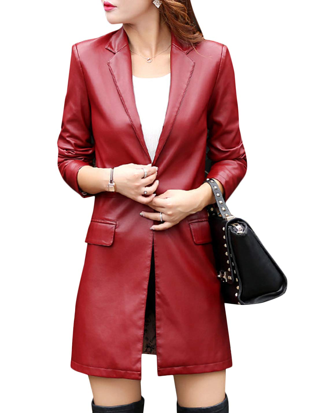 Tanming Womens Casual Lapel Long Leather Jacket Suit Coat Windbreaker Trench Coat (Wine Red, XX-Large) by Tanming