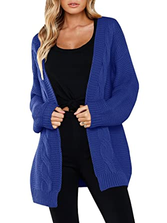 Imysty Womens Sweater Cardigans Cable Knit Open Front Oversized Long Sleeve  Outwear Coat Blue 9986bebbc