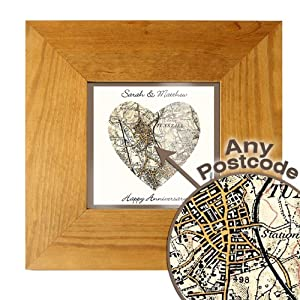 personalised postcode heart map 5x5 oak frame revised new edition