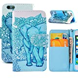 4s Case,iPhone 4S Case, 4S Wallet Case Cover,Wild Wolf Elephant Colorful Wallet Design Magnetic PU Leather Stand Case Card Holder (Elephant, IPHONE 4/4S)