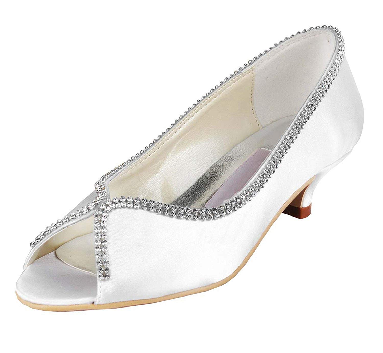 ZHRUI Femmes MZ536 Chaton Talon Satin Satin De Mariage Soirée Sandales De Soirée De Bal (Couleuré   blanc-5cm Heel, Taille   4 UK)  bonne qualité