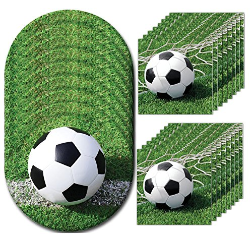 Sports Fanatic Soccer Luncheon Napkins & Plates Party Kit for 8