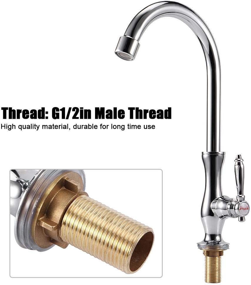 2in Male Thread Silver Zinc Alloy Modern Lead-Free Brushed Nickel 1 Handle Pull-Down Kitchen Sink Faucet Kitchen Sink Pull-Out Faucet with Panel Ymiko G1