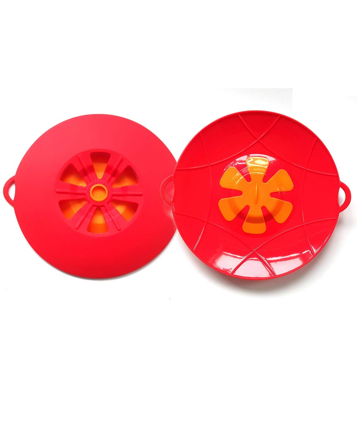 Set of 2 Large Silicone Pan Lid Overflow Spill Stopper, 13 Inch, Stove Top Protection, Boil Over Safeguard