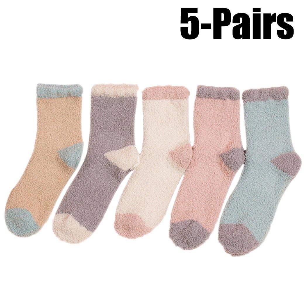 Plush Socks, Aniwon 5 Pairs Floor Socks Coral Velvet Thicken Casual Socks Fuzzy Socks Women Socks for Home