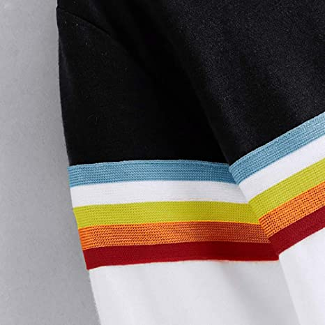 Amazon.com: Maonet Women Sweater Solid Color Back Ribbon Ribbon Rainbow Long Sleeve Sweatshirt: Clothing
