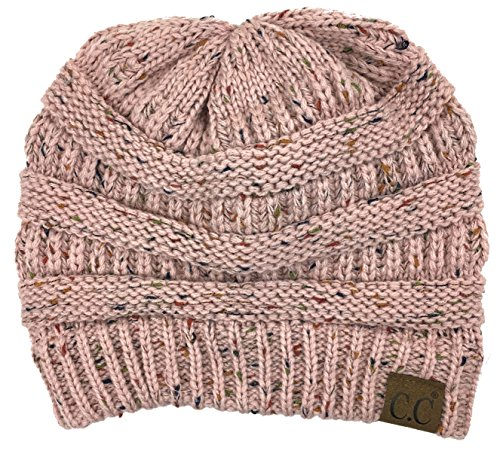 (Plum Feathers Soft Stretch Chunky Cable Knit Slouchy Beanie Hat (Indi Pink Confetti))