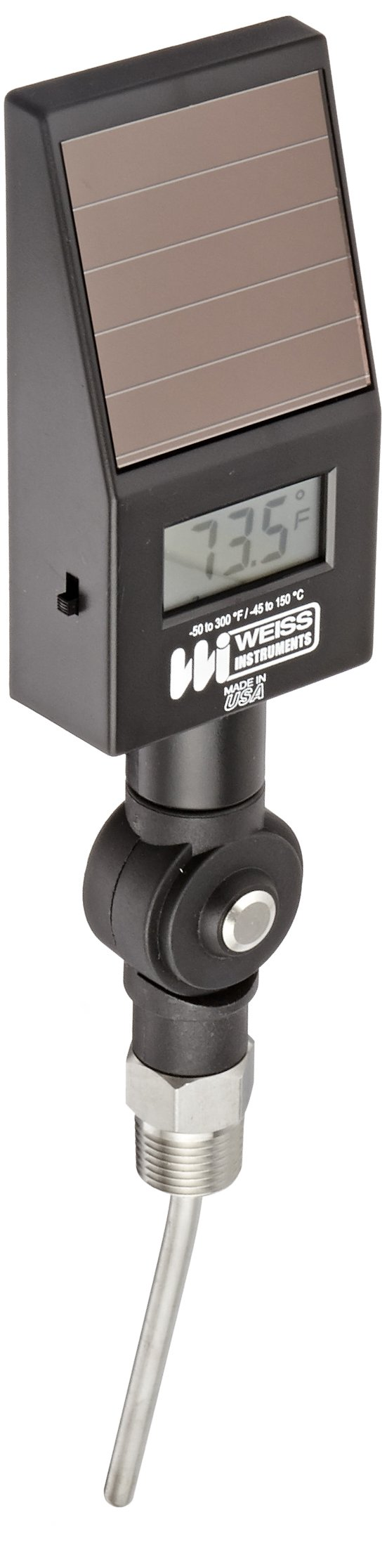 Weiss Instruments DVBM Hi-Impact ABS Digital Vari-Angle Thermometer, LCD Display, -50 to 300 Degrees F Range, 1% Accuracy, 1/2'' Male NPT Connection, Angle Mount, 4'' Stem Diameter
