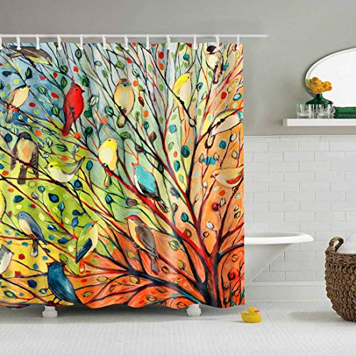 72x72/' Ink Painting Cactus Bathroom Shower Curtain Waterproof Fabric 12 Hooks
