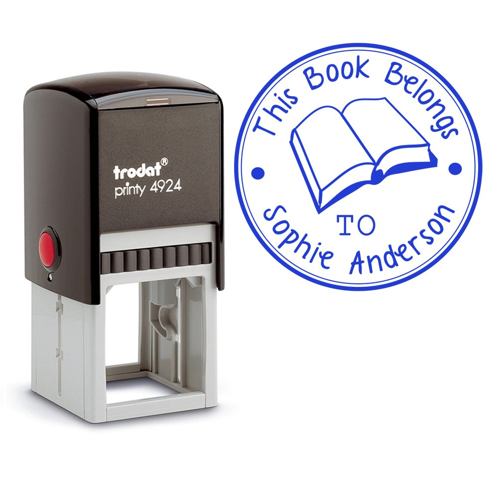 Blue Ink, Self Inking Personalized Teacher Stamp This Book Belongs To School Student Open Book Library Book Stamper Custom Large Round 3 Lines Customized Personal Teacher Appreciation Book Label