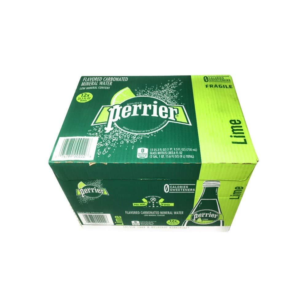Perrier, Water Sparkling Lime, 25 Fl Oz, 12 Pack