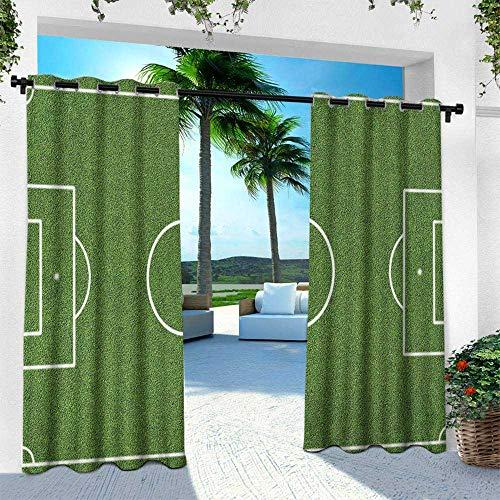 - Hengshu Teen Room, Balcony Curtains,Soccer Field Grass Motif Stadium Game Match Winner Champion Sports Area, W84 x L108 Inch, Fern Green White