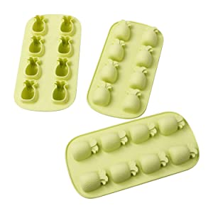 Webake Pineapple Ice Cube Tray 3 Pack Silicone Ice Cube Mold 8 Cavity Soap Mold Reusable BPA Free - Green