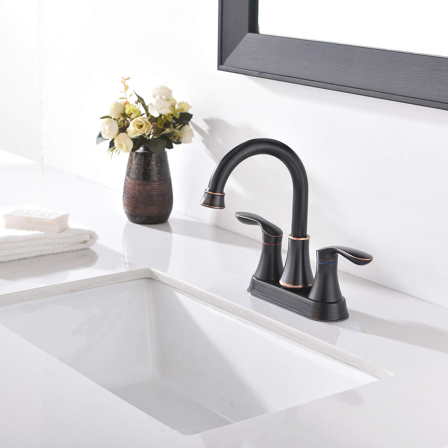Friho Lead-Free Modern Commercial Two Handle Brushed Nickel Bathroom Faucet,Bathroom Vanity Sink Faucets with Drain Stopper and Water Hoses