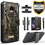 Moto Z2 Play Case, Circlemalls Dual Layers [Combo Holster] +Built-In Kickstand Bundled With [Premium HD Screen Protector] Hybird Shockproof +Stylus Pen For Motorola Moto Z2 Play 2nd Gen (Camo)