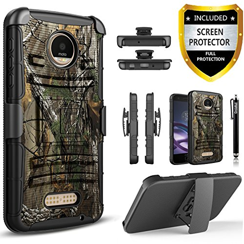 Moto Z2 Force Case, Moto Z2 Force Edition Case[Combo Holster]Built-In Kickstand with[HD Screen Protector]Shockproof And Circlemalls Stylus Pen For Motorola Moto Z2 Force Edition(2nd Gen) [Camouflage]