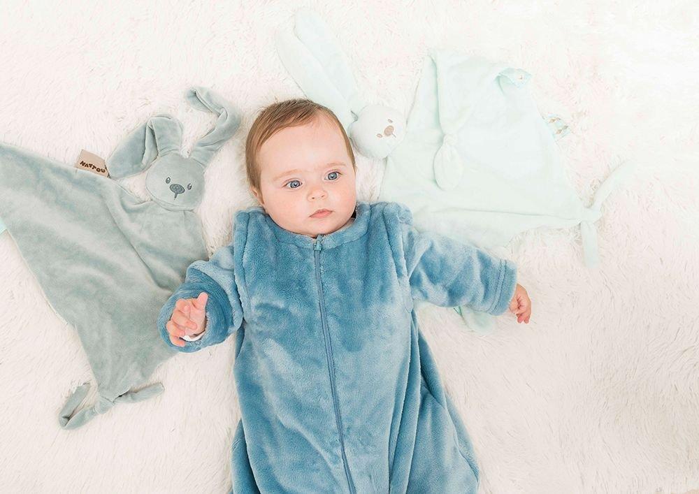 65 x 40 cm Compa/ñero desde el nacimiento Azul Nattou Gran Doudou de Conejo Lapidou