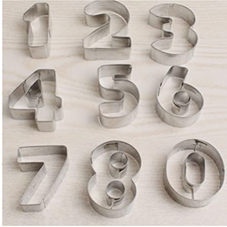 JUNGEN 9PCS Moldes de Galletas Moldes de forma de Números Molde de Acero Inoxidable Para Cortadores