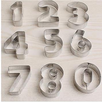 JUNGEN 9PCS Moldes de Galletas Moldes de forma de Números Molde de Acero Inoxidable Para Cortadores de Galletas Cortadores de Fondant Decoración para ...