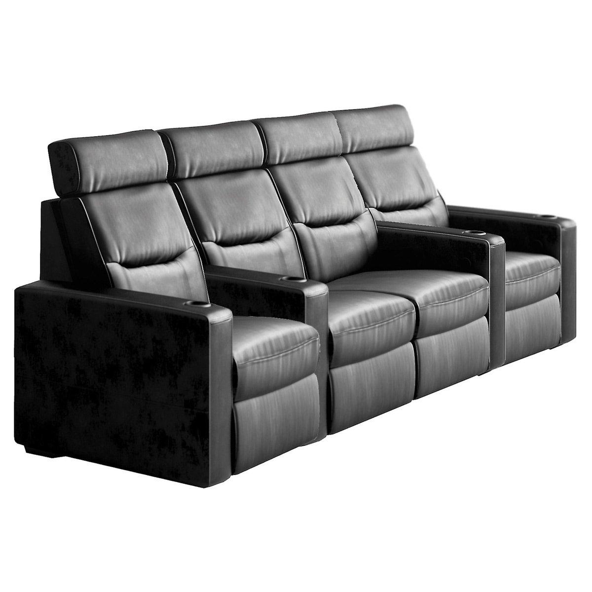 Salamander TC3 AV Basics 4-Seat with Loveseat Straight Motorized Recliner Home Theater Seating (Black Bonded Leather)