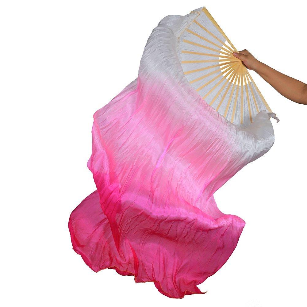 Dance Fairy Tanzen Seide Schleierfächer, Bright Vibrant Farben, 1,8 m lang(Links- oder Recht sauswahl) 8 m lang Beide Hände Rot Orange Gelb Gemischt