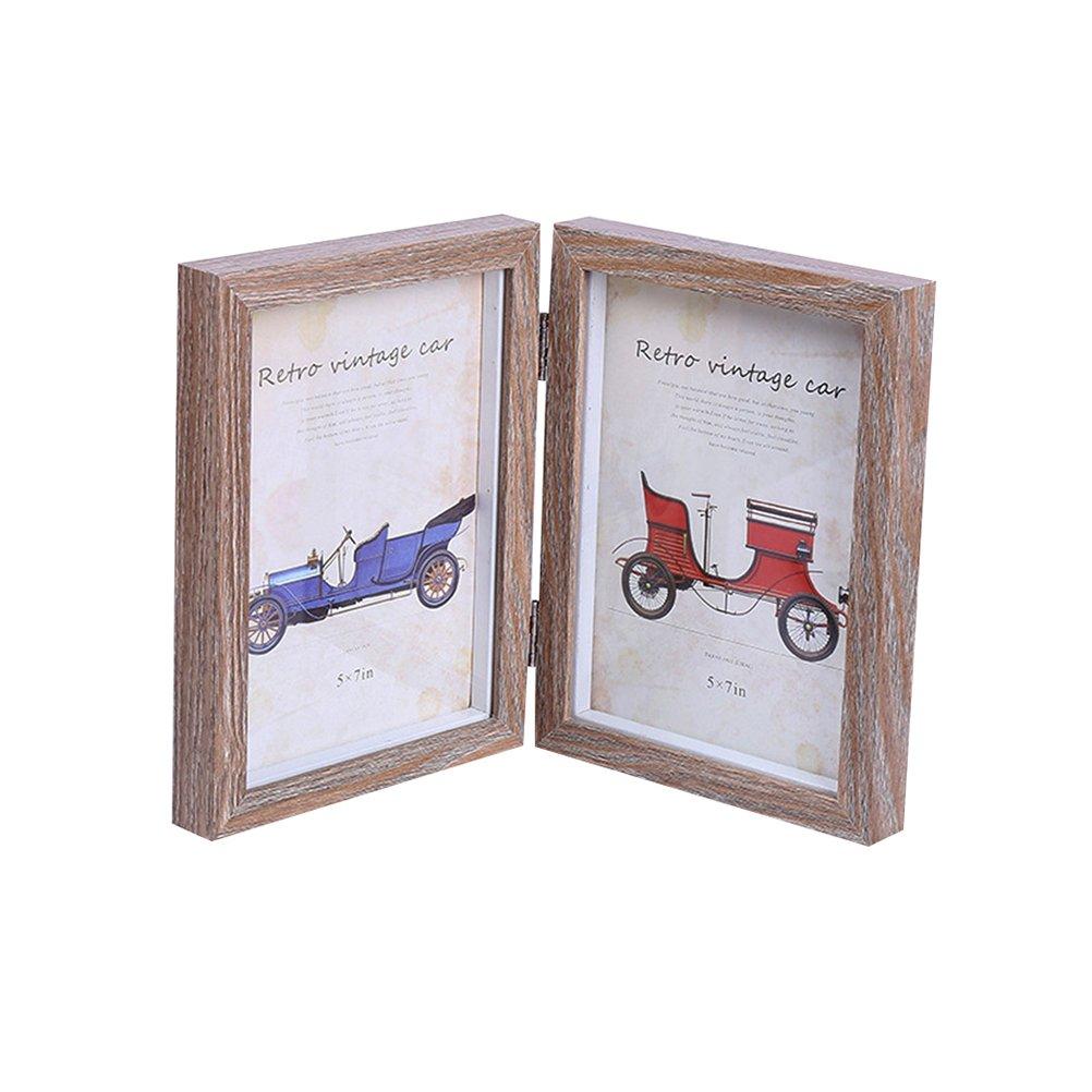 VORCOOL Cadre en bois simple 5x7 pouces Cadre photo rectangulaire double (couleur bois original)