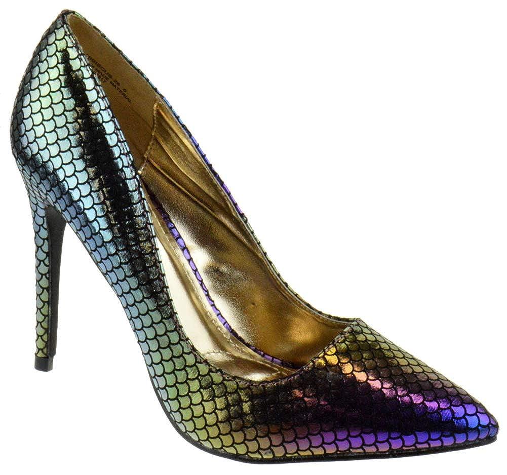Women's Iridescent Mermaid Stiletto Heel Pointed Toe Pumps - DeluxeAdultCostumes.com
