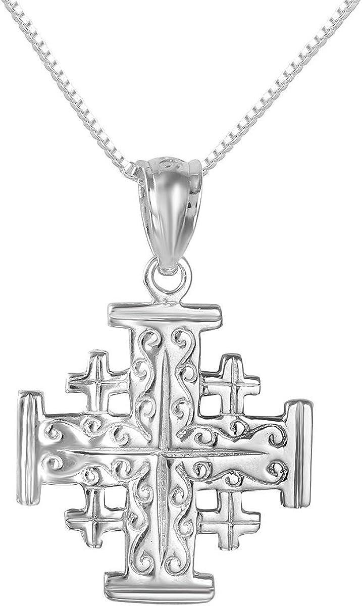 "Sterling Silver High Polished Jesus Pendant Charm 18/"" Italian Box Chain"