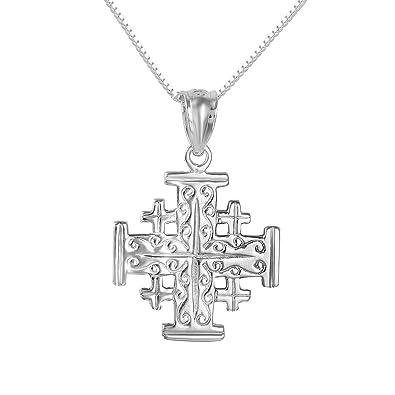 Amazon sterling silver jerusalem cross charm pendant made in sterling silver jerusalem cross charm pendant made in usa 18quot italian box aloadofball Images