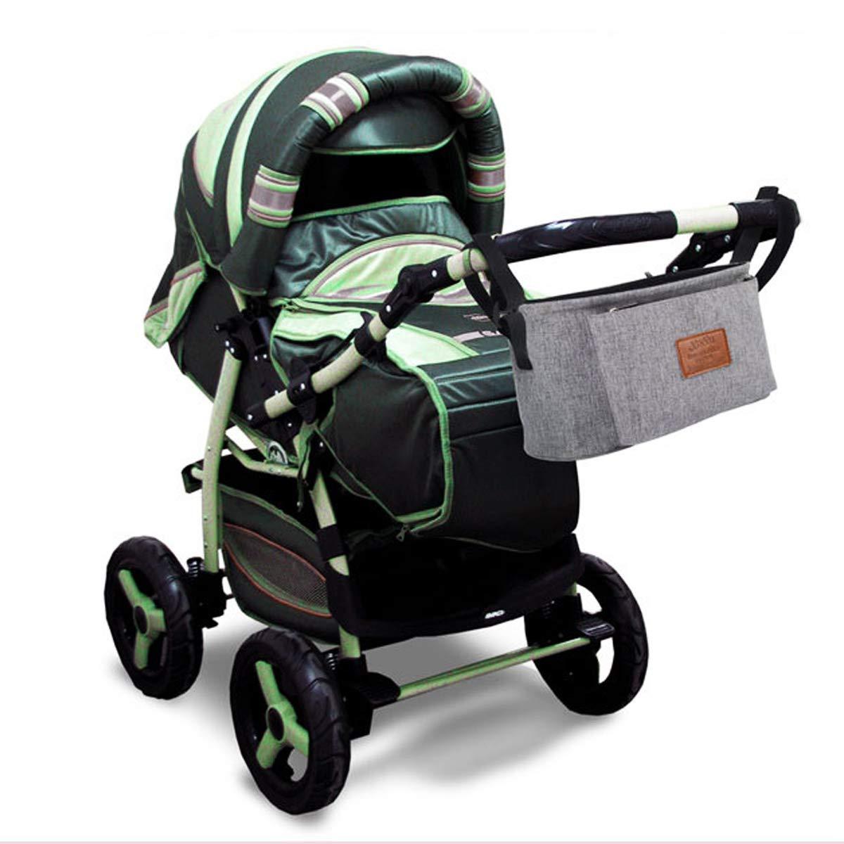 WOVELOT Baby Stroller Pram Pushchair Travel Organizer Storage Bag Bottle Diaper Holder Gray