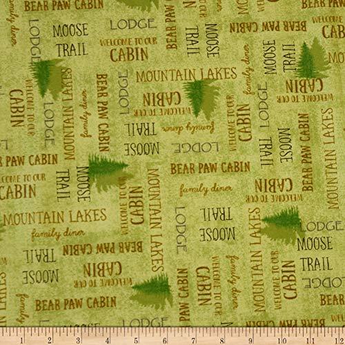 Moose Trail Lodge - QT Fabrics Moose Trail Lodge Lodge Lingo Fabric, Light Green, Fabric By The Yard