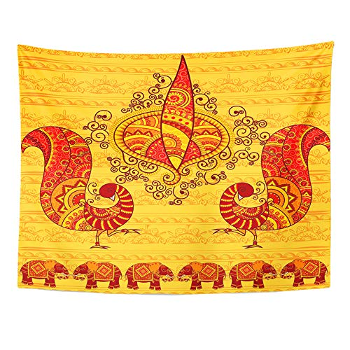 Emvency Tapestry Artwork Wall Hanging Colorful India Diya Peacock in Indian Elephant 60x80 Inches Tapestries Mattress Tablecloth Curtain Home Decor Print -