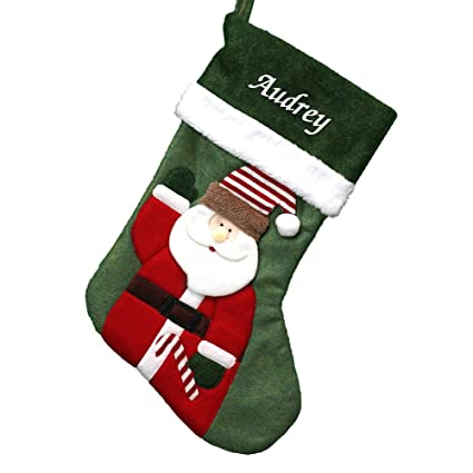 e3773e53255 Image Unavailable. Image not available for. Color  GiftsForYouNow Embroidered  Green Felt Santa Personalized Christmas Stocking ...