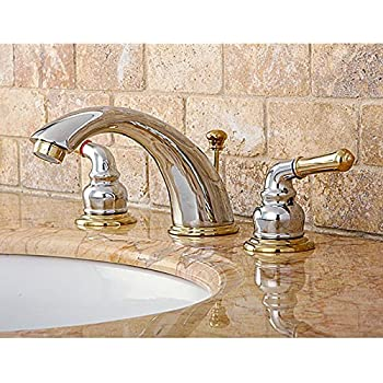 Chrome polished brass widespread bathroom faucet cell phones accessories for Two tone widespread bathroom faucets