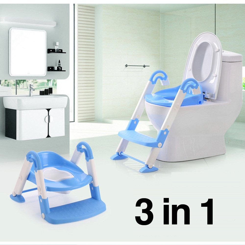 Babyyuga Baby Kids Potty Training Step Ladder Toilet Seat - 3 Coulors (Blue)