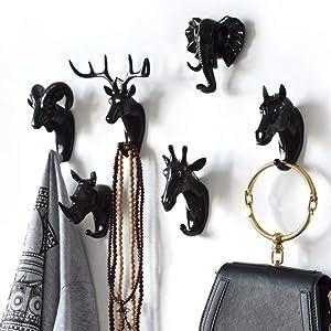 Animal Head Wall Decor,Set of 6 Deer Head Horse Head Sheep Head Rhino Head Elephant Head and Giraffe Head Creative Home Decoration Hanger Resin Material for Coat Hats Keys Bags Purse Towels(Black)