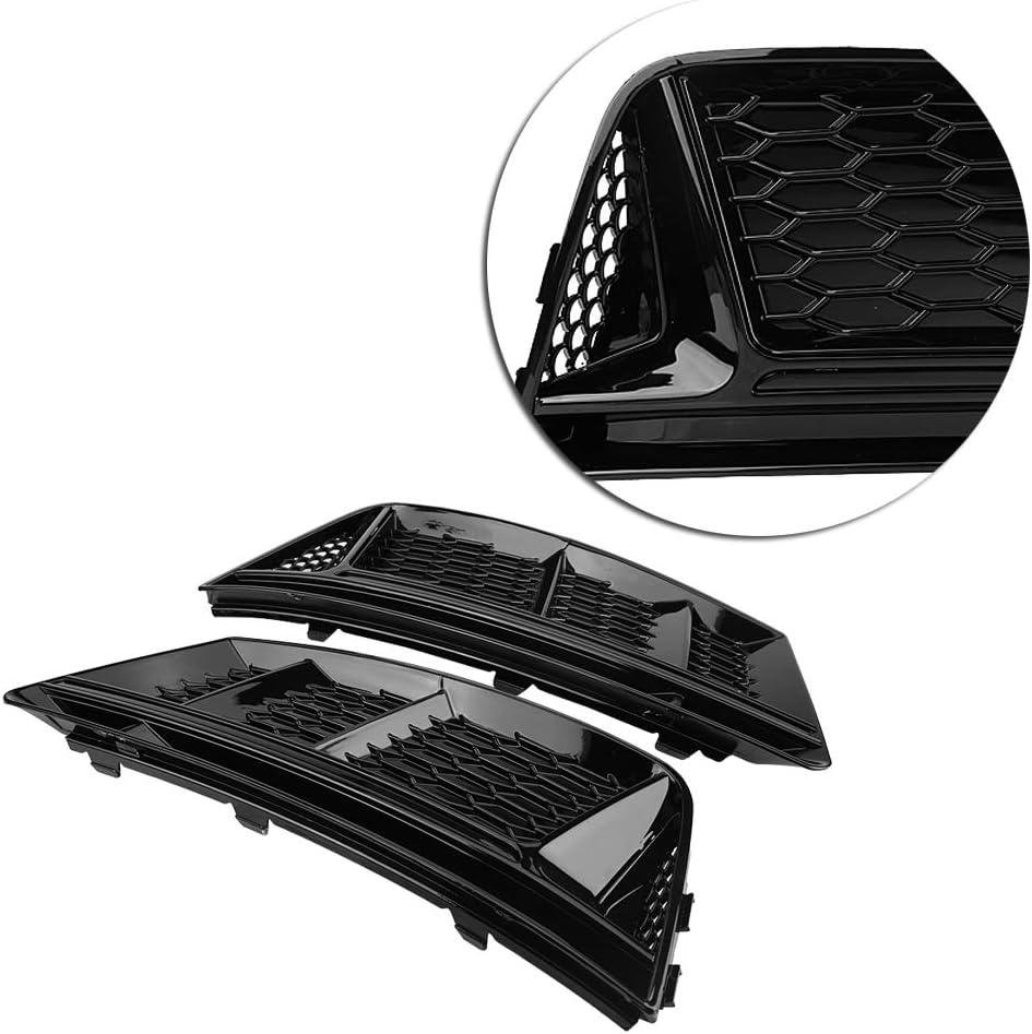 KIMISS Parrillas de luz antiniebla para Parachoques Delantero Estilo S4 para A4 B9 2017-2018 Color Negro Brillante 2 Unidades