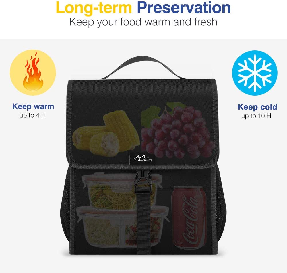 3-Layer Lunch Box ZoalGater Insulated Lunch Bag Lightweight and Portable Cooler Stereo Square Design Cooler Bag for Lunch and Groceries Blue Large Storage Capacity