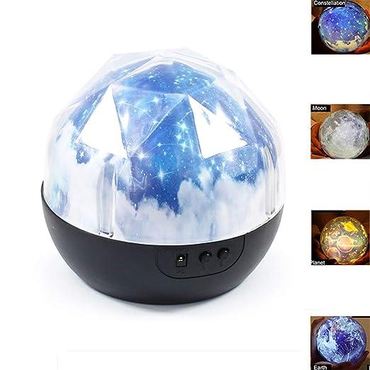 ZQDENG Starry Sky Magic Proyector Lámpara Constelación/Luna/Tierra ...