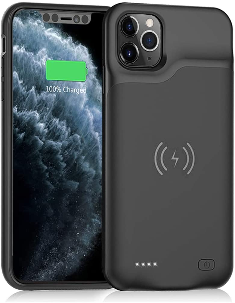 Battery Case for iPhone 11 Pro Max Wireless Charging Black 6500mAh Portable Charging Case with Qi Wireless Charging for iPhone 11 Pro Max Rechargeable Extended Battery Charger Case 6.5 inch