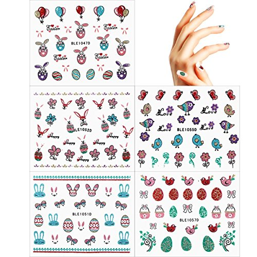 Large Product Image of OULII Nail Stickers Glitter Powder Fun 3D Nail Stickers Decals Easter Party Favors DIY Valentine's Day gift for women girls, Pack of 5
