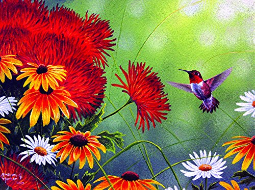SunsOut Hummingbird and Red Flower 1000 Pc Jigsaw Puzzle ()