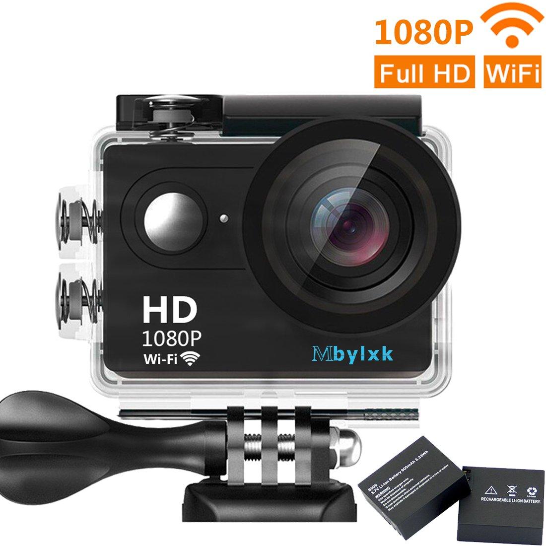 Mbylxk Action Kamera 4K, 2.0 Zoll Eingebautes Wifi Action Kamera Wasserdicht 30M, 2.4G Remote Auto Recorder und kostenlose Accessoires (Grau) MD-M9R-BK